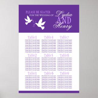 white doves purple wedding seating table plan 1-9 print