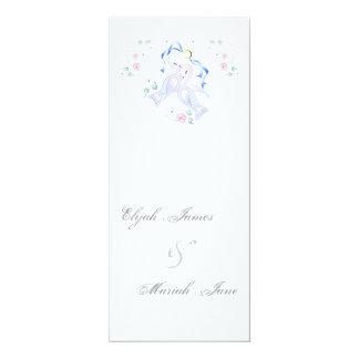 "White Doves & Ring Wedding Invitation Cards 4"" X 9.25"" Invitation Card"