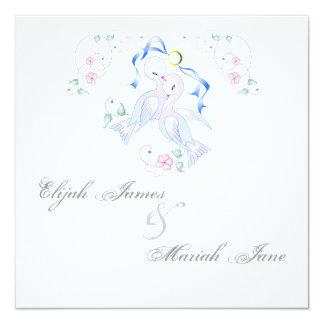 "White Doves & Ring Wedding Invitation Cards 5.25"" Square Invitation Card"