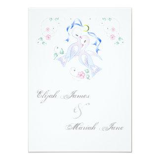 "White Doves & Ring Wedding Invitation Cards 5"" X 7"" Invitation Card"