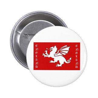 White Dragon England Text 6 Cm Round Badge