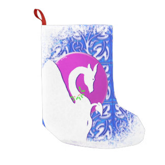 White Dragon I Moon Holiday (Blue Ornament) Small Christmas Stocking