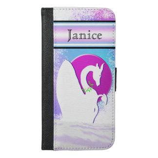 White Dragon Moon I (Colorful Haze) w/ Name Plate iPhone 6/6s Plus Wallet Case