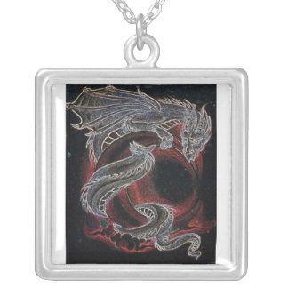 White Dragon Red Moon Necklace