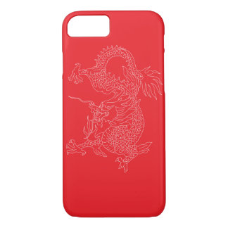 white dragon with red background iPhone 7 case