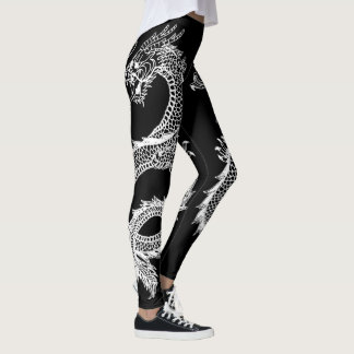 White Dragons Personalize Background Color Leggings