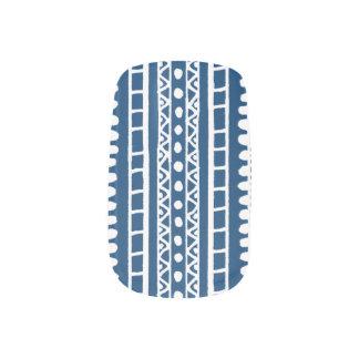 White Drawn Aztec Pattern Minx Nail Art