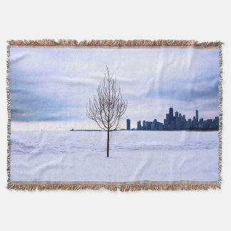 White dream - winter in Chicago, throw blanket