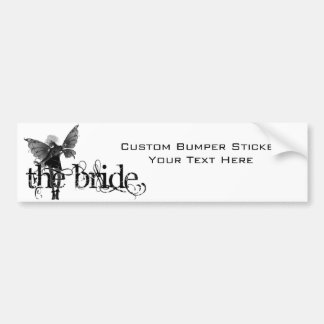 White Dress Fairy B&W Negative - The Bride Car Bumper Sticker