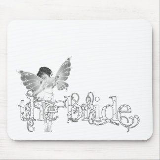 White Dress Fairy B&W - The Bride Mouse Pad