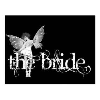 White Dress Fairy B&W - The Bride Post Card