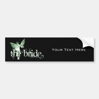 White Dress Fairy Green - The Bride Car Bumper Sticker