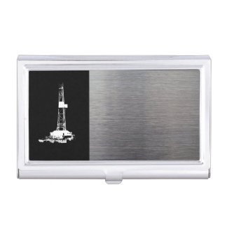 White Drilling Rig Silhouette Business Card Holder
