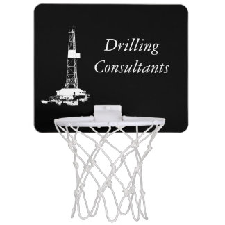 White Drilling Rig Silhouette on Black Background Mini Basketball Hoop
