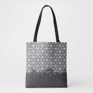 White Dripping Flower Tote Bag