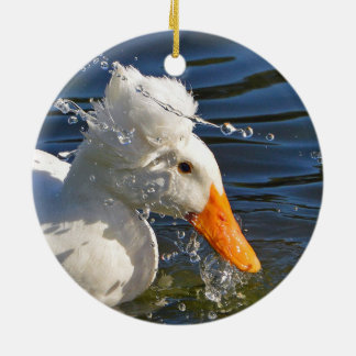 White Duck And Water Droplets Ceramic Ornament