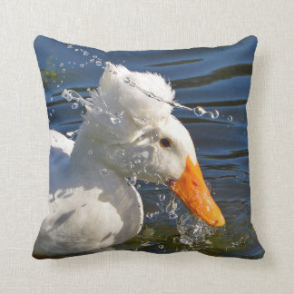 White Duck And Water Droplets Cushion