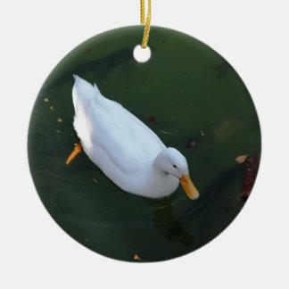 White duck ceramic ornament