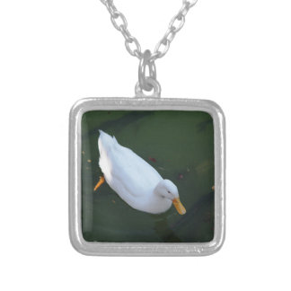 White duck silver plated necklace