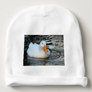 White Duck swimming in a creek Baby Beanie