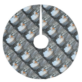 White Duck swimming in a creek Brushed Polyester Tree Skirt