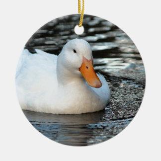 White Duck swimming in a creek Ceramic Ornament