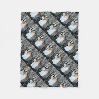 White Duck swimming in a creek Fleece Blanket