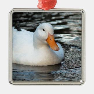 White Duck swimming in a creek Metal Ornament