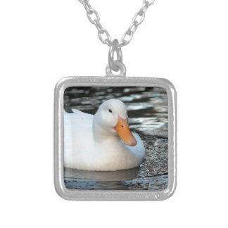 White Duck swimming in a creek Silver Plated Necklace