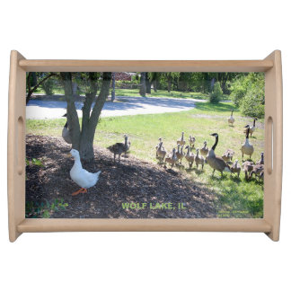 WHITE DUCK WITH GEESE FRIENDS SERVING TRAY