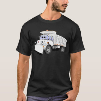 White Dump Truck Plow Cartoon T-Shirt