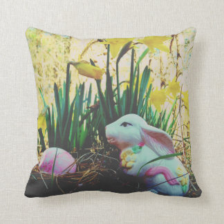 White Easter Bunny Rabbit daffidill flower and egg Cushion