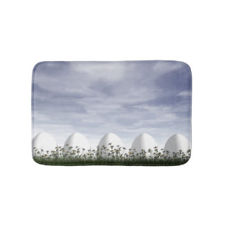 White easter eggs in nature - 3D render Bath Mats