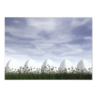 White easter eggs in nature - 3D render Card