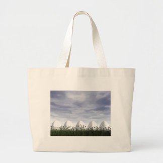 White easter eggs in nature - 3D render Large Tote Bag