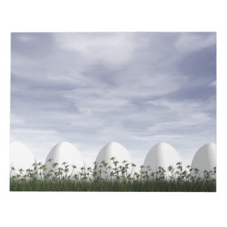 White easter eggs in nature - 3D render Notepad