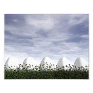 White easter eggs in nature - 3D render Photo Print