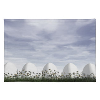 White easter eggs in nature - 3D render Placemat