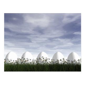 White easter eggs in nature - 3D render Postcard