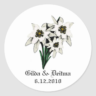White Edelweiss Wedding Stickers