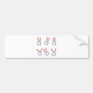 White egg bunny bumper sticker
