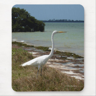 White Egret 2 Mousepad