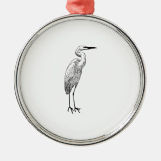 White Egret Metal Ornament