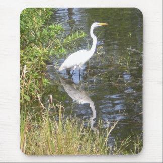 white egret mouse pad