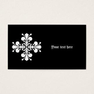 White elegant damask motif business card