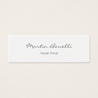 White Elegant Script Simple Trendy Professional Mini Business Card
