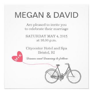 White Elegant Wedding Invitations - Bike and heart