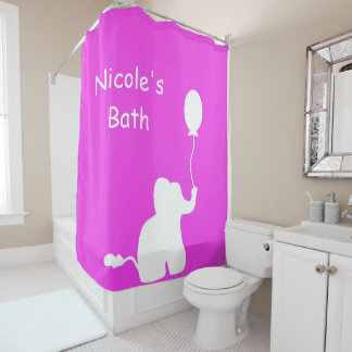 White elephant balloon outline pink shower curtain