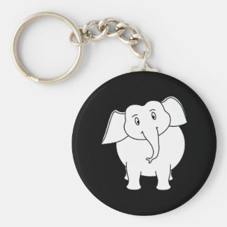 White Elephant. Basic Round Button Key Ring