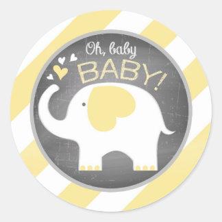 White Elephant Diagonal Stripe Baby Shower Classic Round Sticker